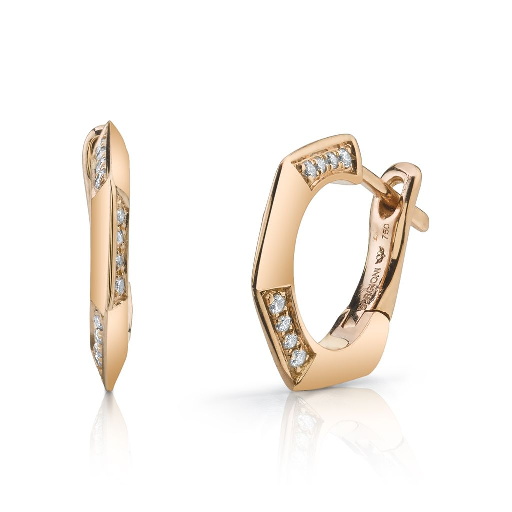18K Rose Gold, Diamond Hex Huggies<br />