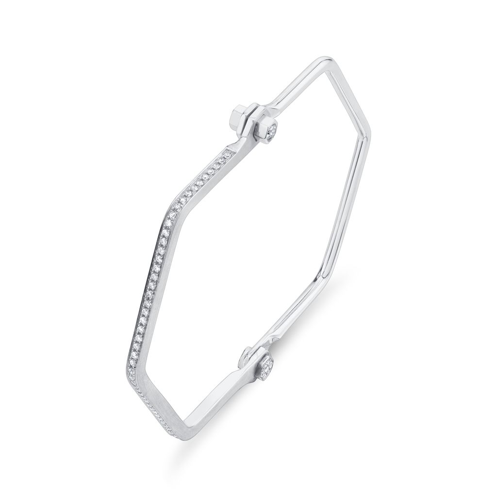18K White Gold, Pave Skinny Hexagon Handcuff W/ White Diamonds<br />