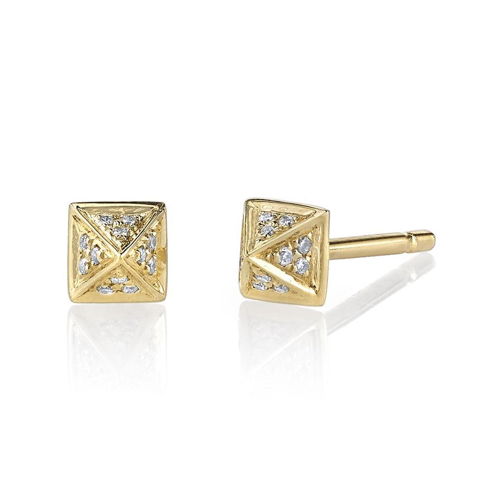 18K Yellow Gold, Small Pave Diamond Pyramid Studs <br />.15cts diamonds