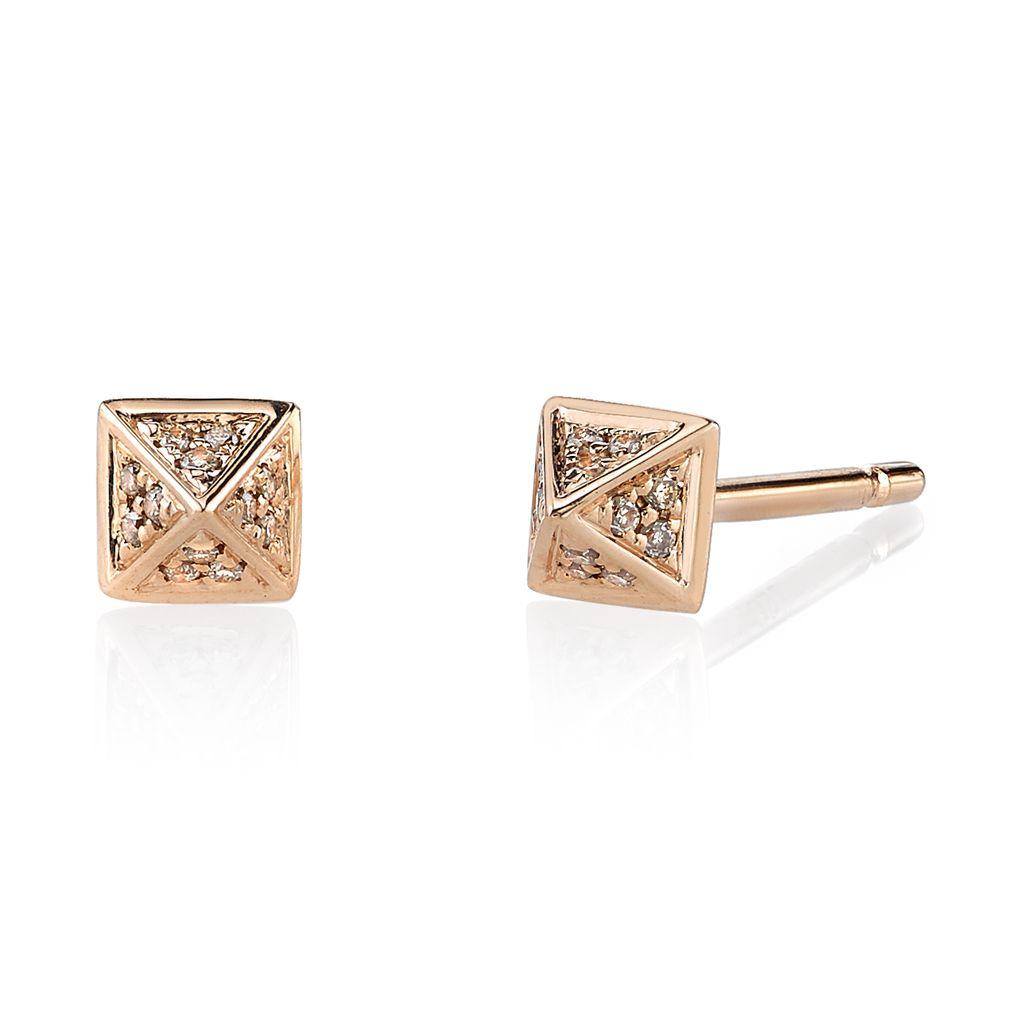 18K Rose Gold, Small Pave Brown Diamond Pyramid Studs<br />.15cts brown diamonds