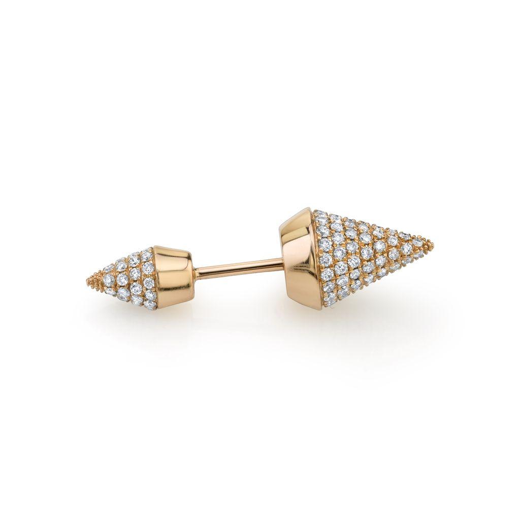 18K Rose Gold, Pave Diamond Double Spike Stud<br />.51cts diamonds