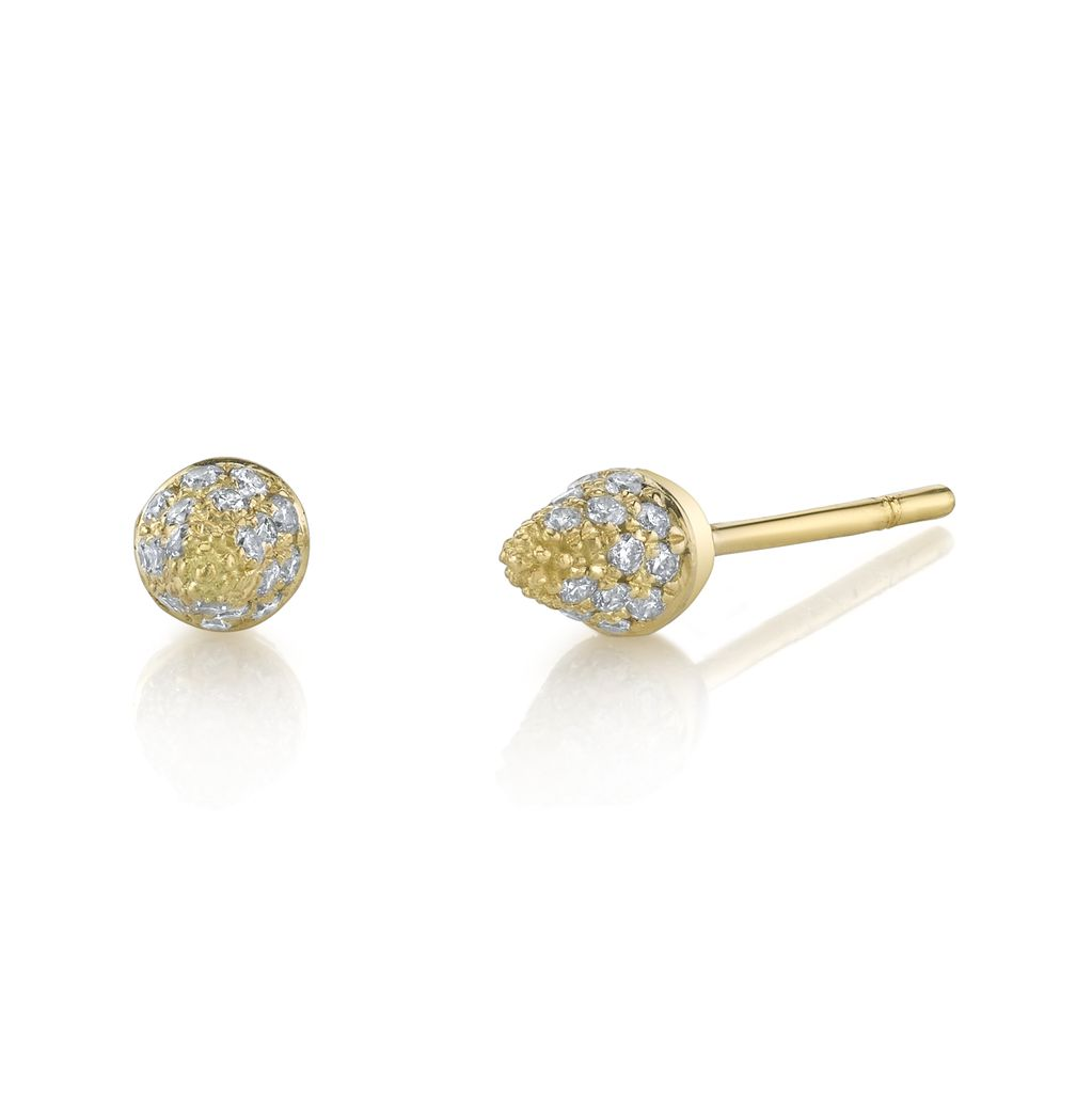 18K Yellow Gold, Small Pave Diamond Spike Studs<br />
