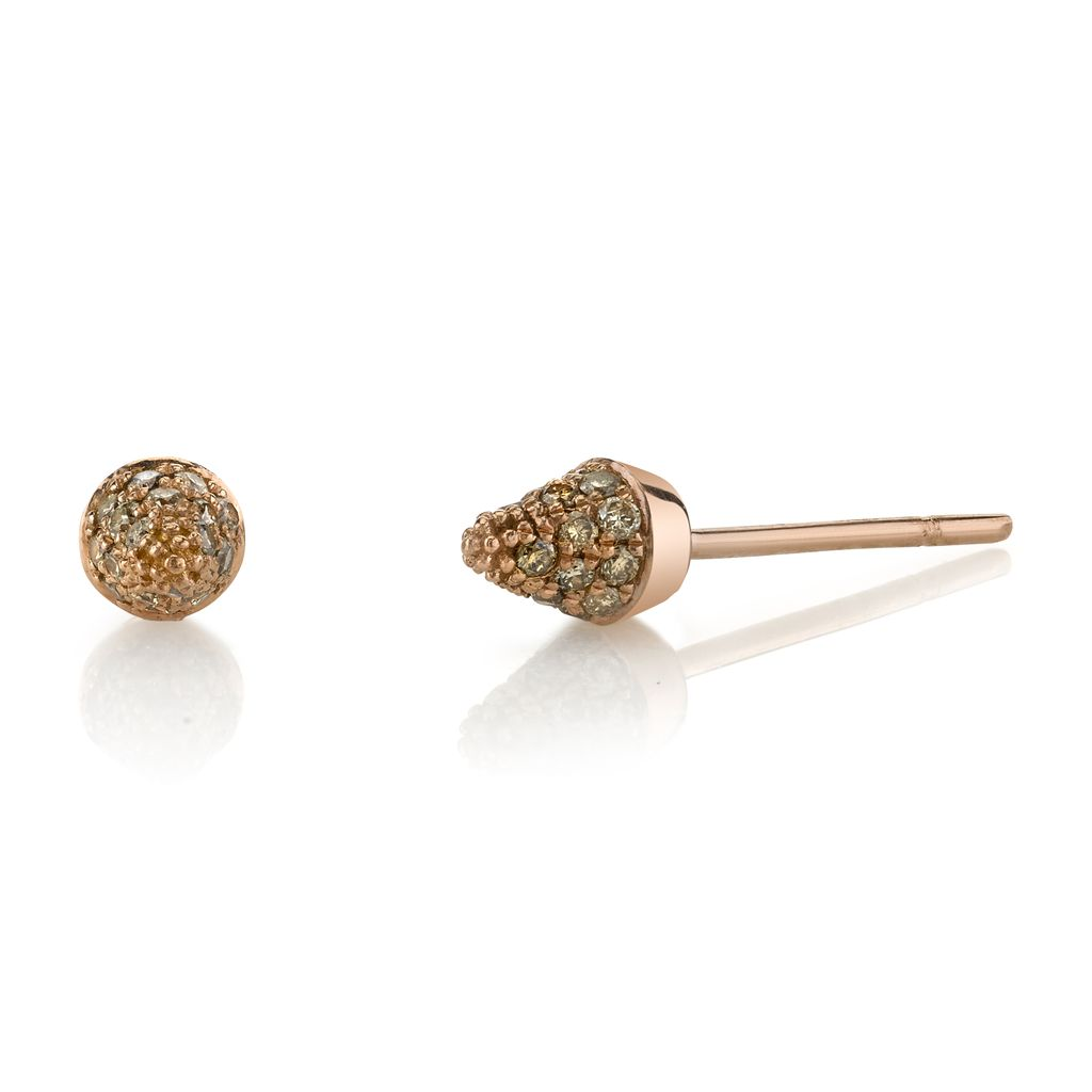 18K Rose Gold, Small Pave Brown Diamond Spike Studs<br />.21cts brown diamonds