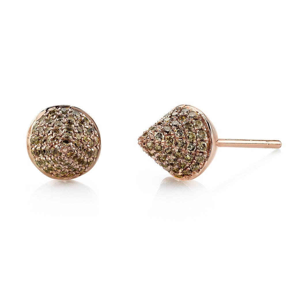 18K Rose Gold, Pave Brown Diamond Spike Studs<br />.72cts brown diamonds
