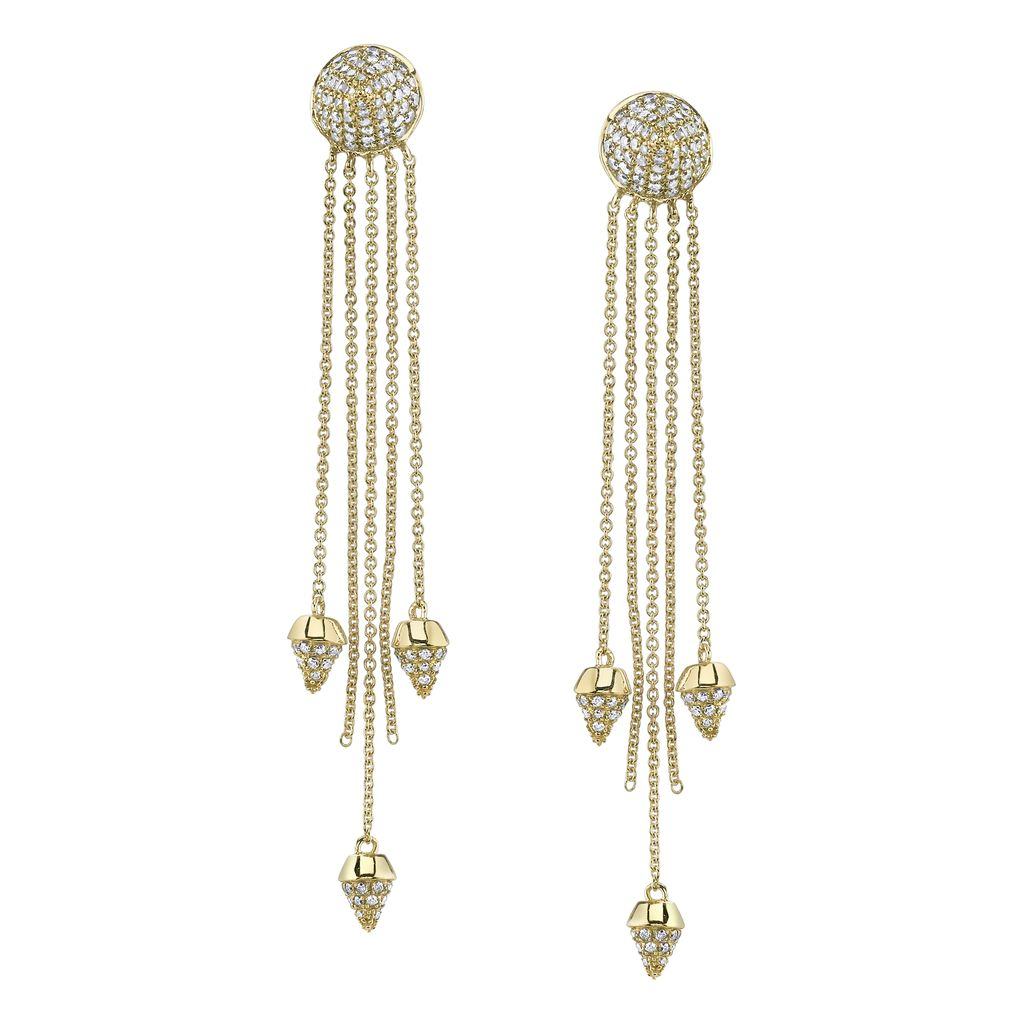 18K Yellow Gold, Pave White Diamond Spike Dangle Earrings (3 1/2 inches)<br />