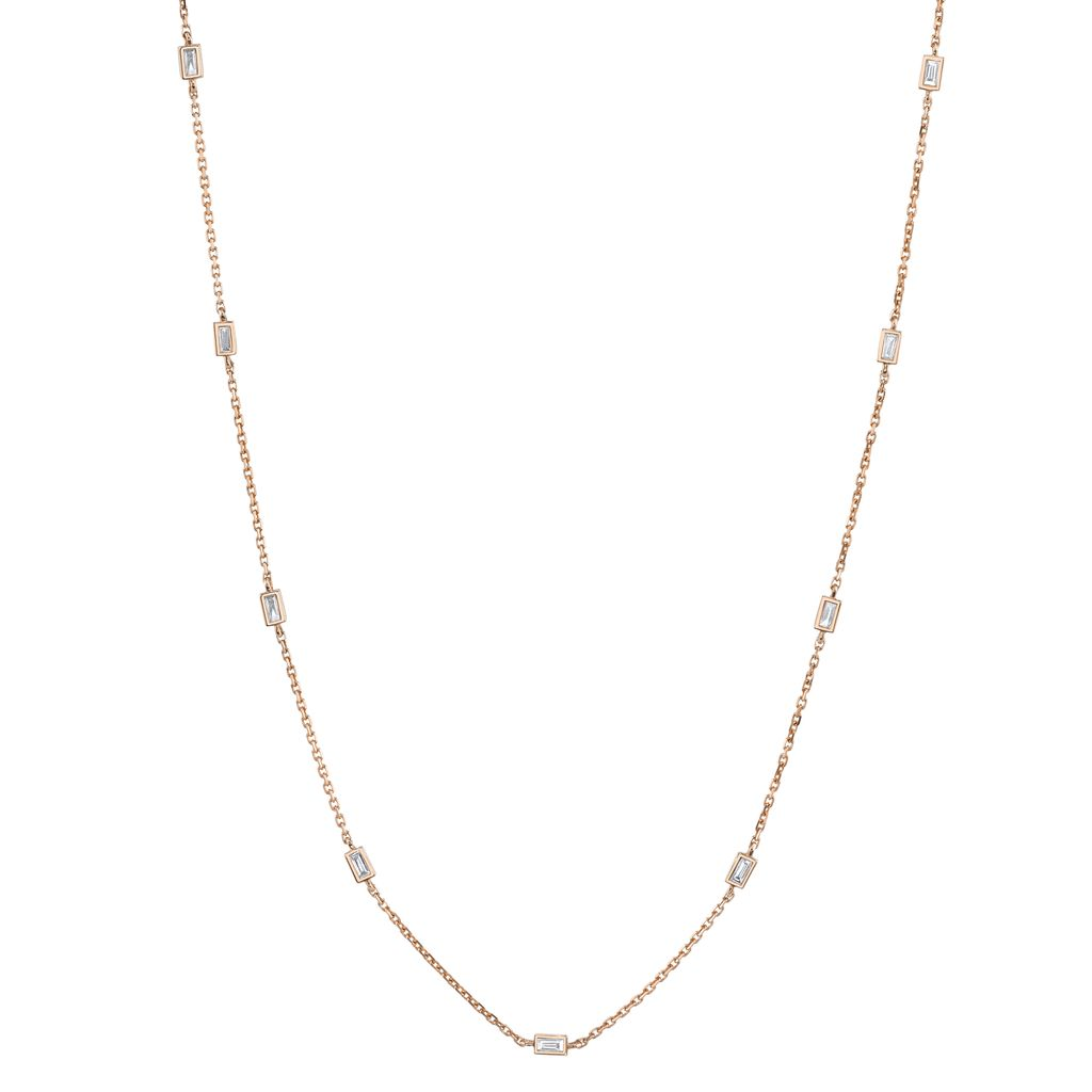 "18K Rose Gold 18"" Diamond Baguette By The Yard Necklace <br /> .62cts baguette diamonds"