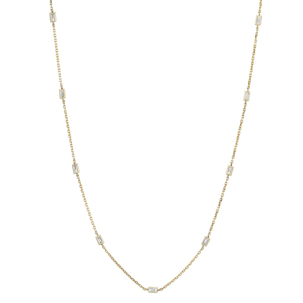 "18K Yellow Gold 18"" Diamond Baguette By The Yard Necklace <br /> .62cts baguette diamonds"
