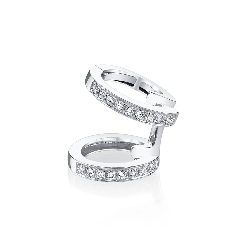 18K White Gold, Pave Diamond Multi Earcuff<br />