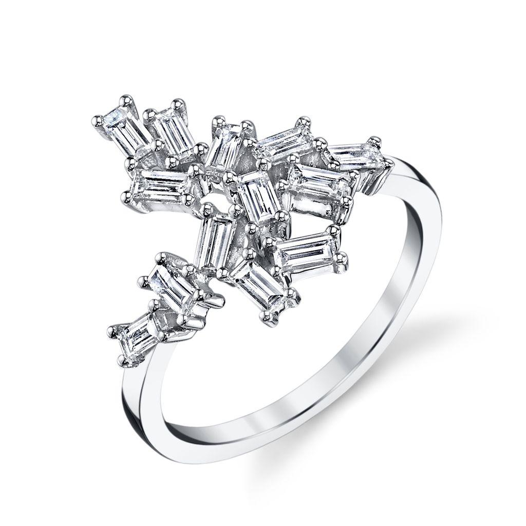 18K White Gold Diamond Baguette Knuckle Ring.70cts diamond baguettes
