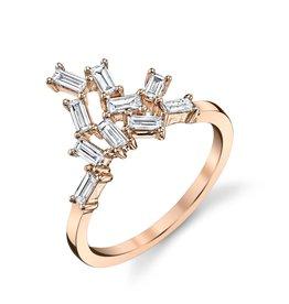 Baguette Cluster Knuckle Ring