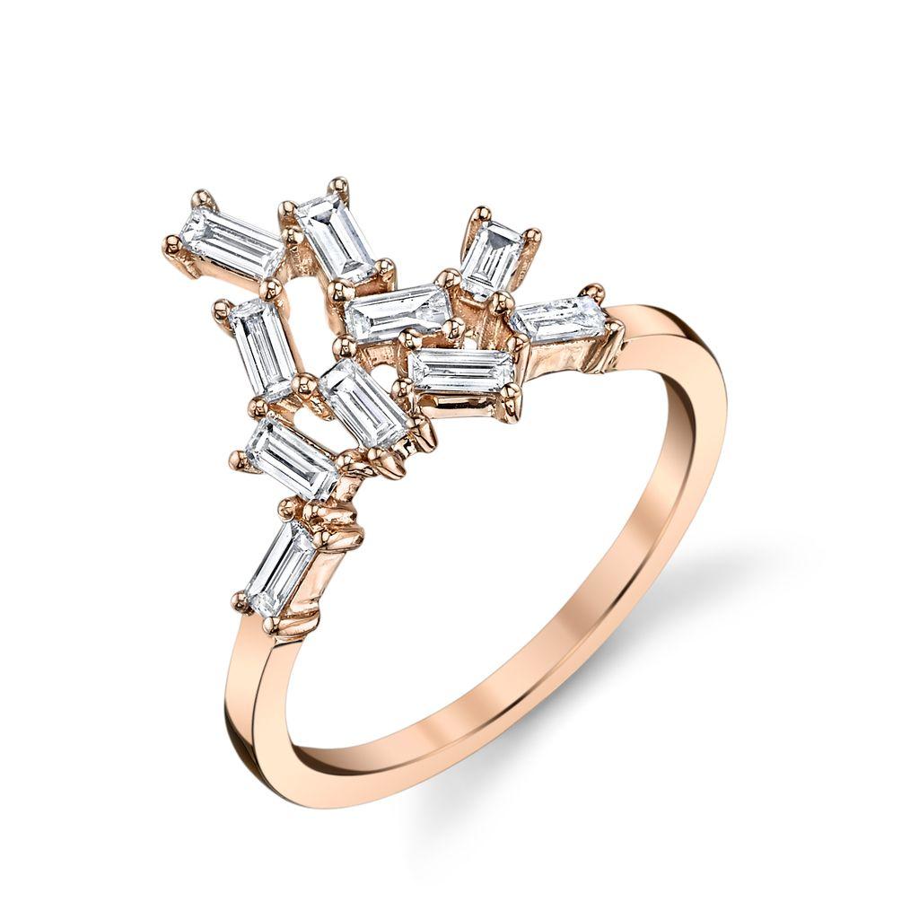 18K Rose Gold Diamond Baguette Knuckle Ring.42cts diamond baguettes