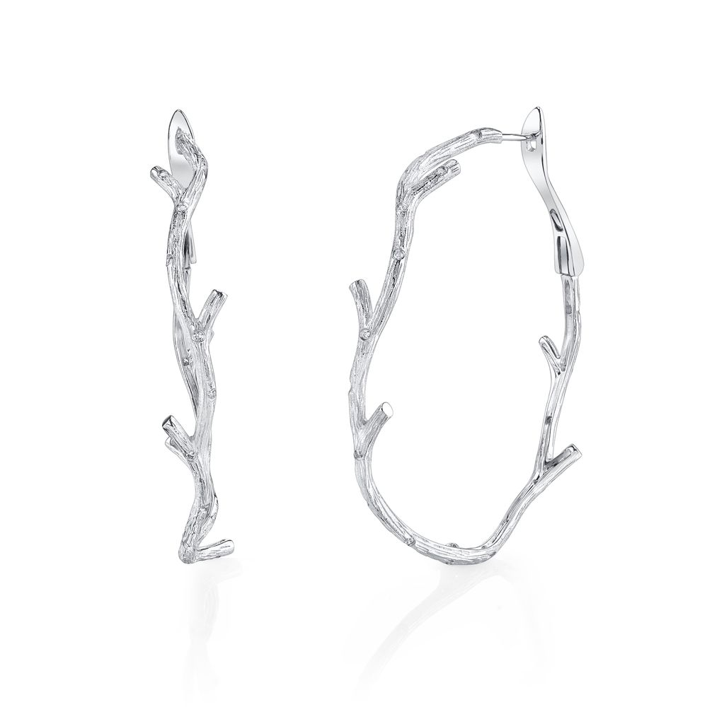 18K White Gold, Pave Diamond Large Branch Hoop Earrings.32cts white diamonds