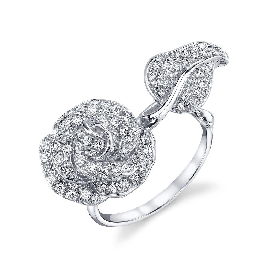 18K White Gold, Pave White Diamond Garden Rose & Leaf Ring.92cts. white diamonds