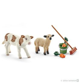 Schleich Stable Cleaning kit w calf & lamb (41422)