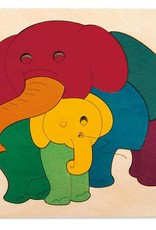 Hape Rainbow Elephant & Baby Puzzle E6505
