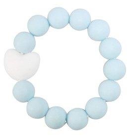 Glitter & Spice Kids Silicone Teething Bracelet - Love In Misty Blue