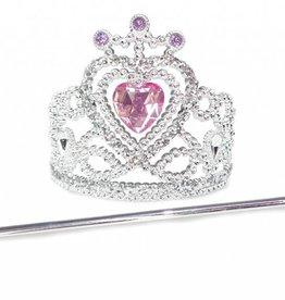 Great Pretenders Glitter Heart Tiara/Wand Silver