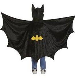 Great Pretenders Bat Cape with Hood, Black