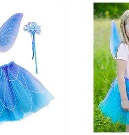 Great Pretenders Fancy Flutter Skirt/Wings and Wand Blue