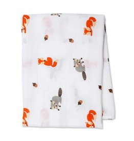 Lulujo Cotton Muslin Swaddle Forest friends