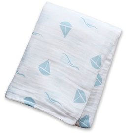 Lulujo Cotton Muslin Swaddle Blue sailboats