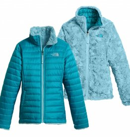 The North Face Girls Reversible Mossbud Swirl Jacket Algiers Blue