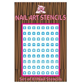 Piggy Paint Abstract (Blue) Nail Stencils