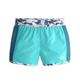 The North Face Girls' Class V Water Short Blue Wing Teal Fern Print