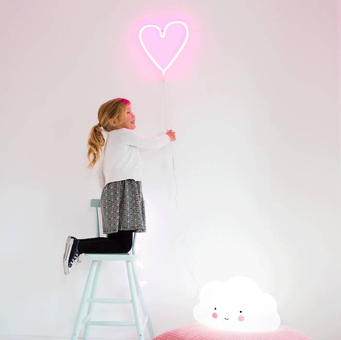 A Little Lovely Company Neon Light: Heart - Pink