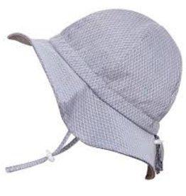Grow-With-Me Sun Hat Cotton Grey Argyle
