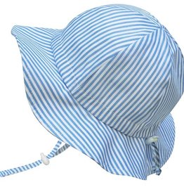 Grow-With-Me Sun Hat Cotton Blue Stripes