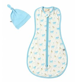 Kyte Baby Printed swaddle bag with Hat in Woof 0.5