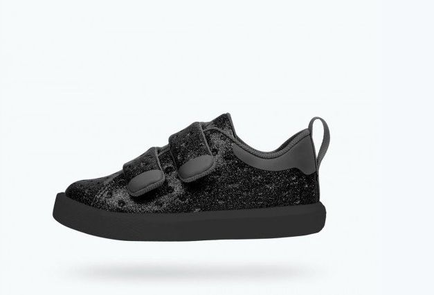 Native Monaco Velcro Child Black Glitter