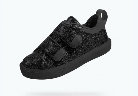 Native Monaco Velcro Junior Black Glitter/Jiffy Black