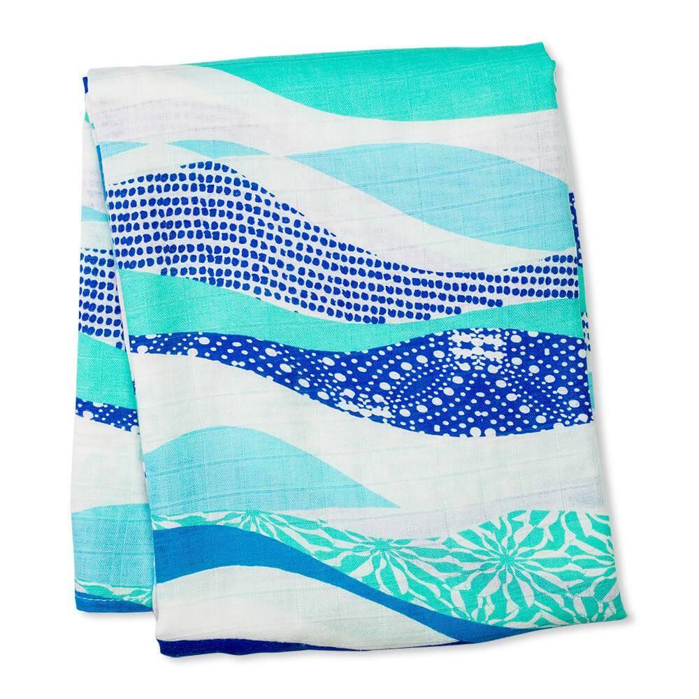 Lulujo Bamboo Muslin Swaddle - Waves