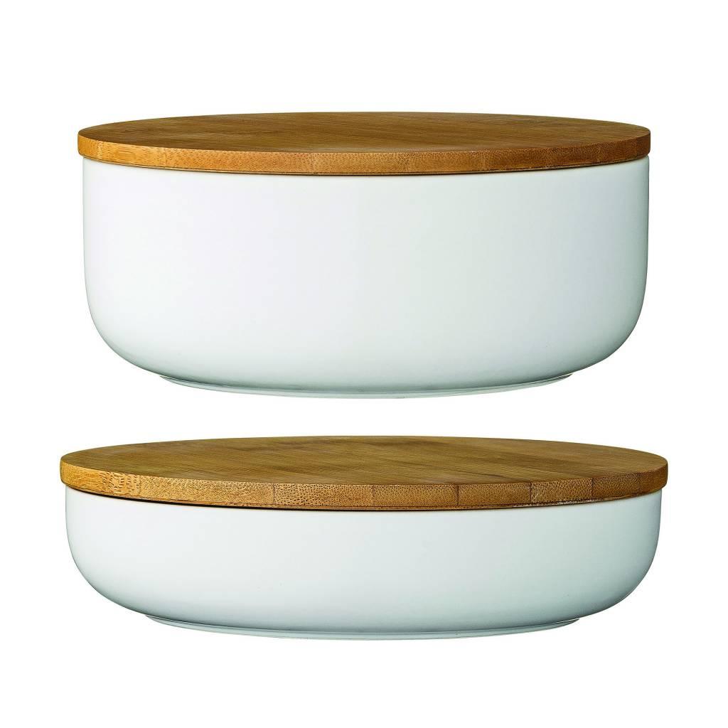 Design Home White Bamboo Jar – small