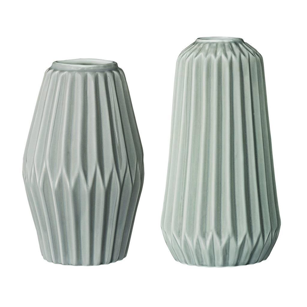 Bloomingville Grey Ceramic Fluted Vase