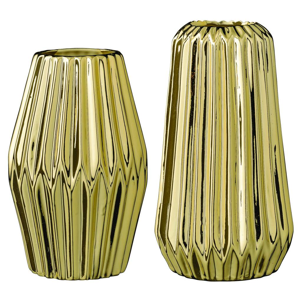 Bloomingville Gold Fluted Vase