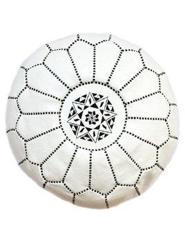 Grand Pouf Marocain Blanc et Noir