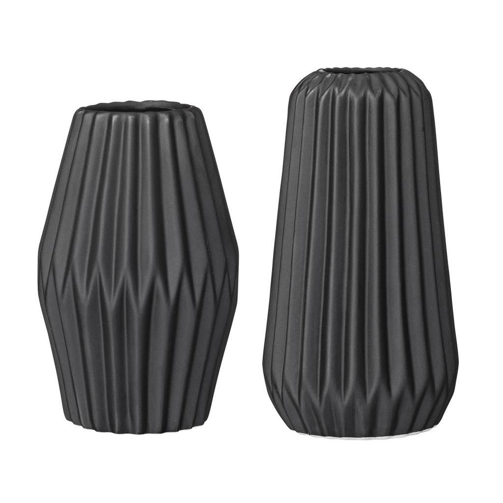 Bloomingville Black Fluted Vase