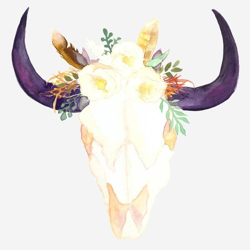 Feelin'it Decals Floral cow skull decal