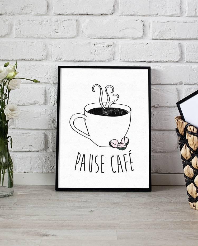 Fleur Maison Petite Affiche Pause Café