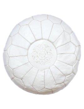 Grand Pouf Marocain Blanc