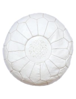Large White Moroccan Pouf
