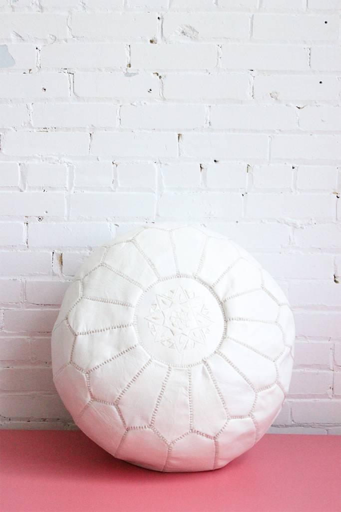 Large White Moroccan Pouf
