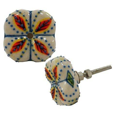 NACH Ceramic orange white blue flower knob