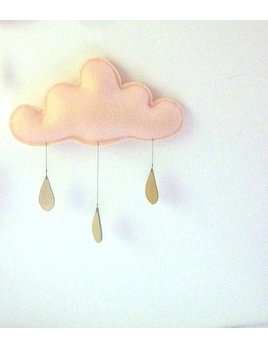 The Butter Flying golden raindrops mobile Peach