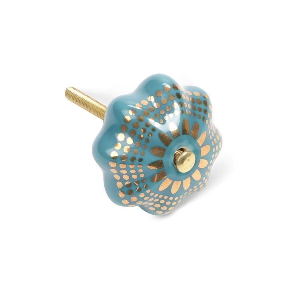 Abbott Poignée Citrouille Turquoise et Or