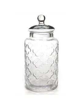 ADV Glass jar with flower motif