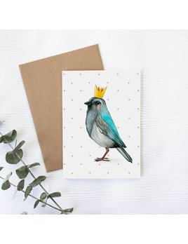 Joannie Houle Crowned Bird Greeting card
